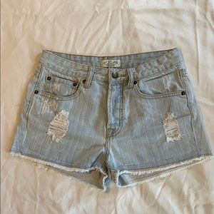 I Love Her Light wash distressed jean shorts